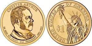 Монета США $1 Президенты (21) Честер Алан Артур