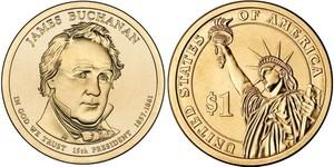 Монета США $1 Президенты (15) Джеймс Бьюкенен.