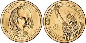 Монета США $1 Президенты (04) Джеймс Мэдисон.