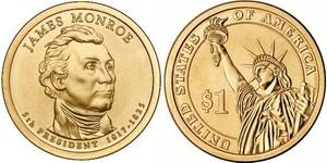 Монета США $1 Президенты (05) Джеймс Монро