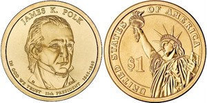 Монета США $1 Президенты (11) Джеймс Полк.