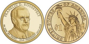 Монета США $1 Президенты (32) Франклин Рузвельт.