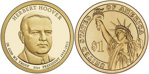 Монета США $1 Президенты (31) Герберт Гувер.