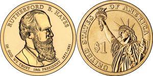 Монета США $1 Президенты (19) Ратерфорд Хейс.