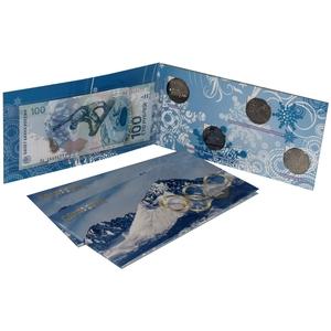 Набор монет СОЧИ-2014 4 монеты и банкнота в буклете