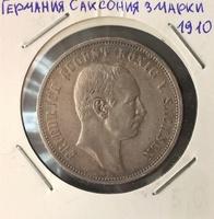 Монета Германия Саксония 3 марки 1910 Фридрих Август I серебро (AG)