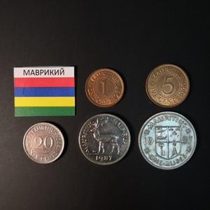 Набор монет Маврикий 1987г., 1990г.