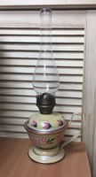Керосиновая лампа Бежевого цвета (с цветами) 40 см