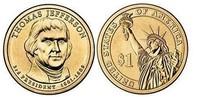 Монета США $1 Президенты (03) Томас Джефферсон.