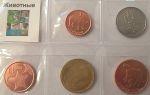 Тематический набор монет Животные 5 шт
