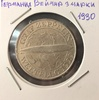 Монета Германия Веймар 3 марки (рейхсмарки) 1930 г. Дирижабль серебро (AG)
