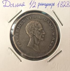 Монета Дания 1/2 ригсбанкдалера 1828 год серебро (AG)