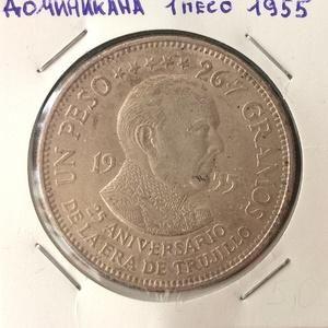 Монета Доминикана 1 песо 1955 Юбилей Трухиллио серебро (AG)